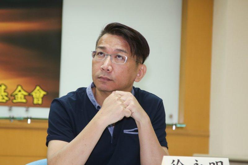 立委徐永明出席台灣民意基金會舉行「台灣認同與2017台北世大運」全國性民調發表會。(陳明仁攝)