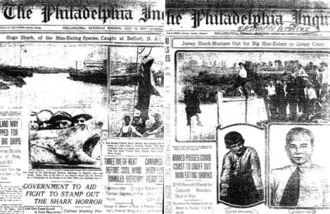 1916年的新澤西鯊魚襲擊事件,當時美國的報章報導。(圖/Outside提供)