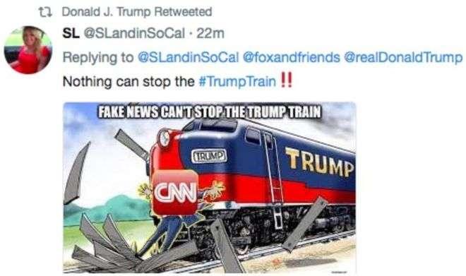 美國總統川普轉發火車撞CNN的圖片(取自網路)