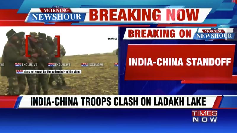 洞朗地區的中印邊境守軍15日發生推擠、互擲石塊的低強度衝突,引發印度電視台以快訊報導。