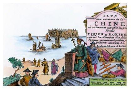 荷蘭人眼中的鄭芝龍(圖中穿綠衣者)。(取自維基百科)