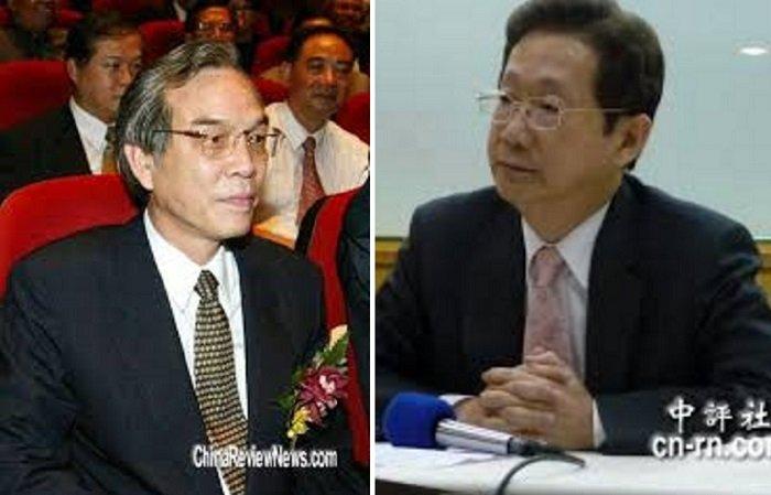 2002年5月,台電也曾因為中油斷氣而無預警限電,台電董事長林文淵(右)和中油董事長陳朝威(左)先後請辭獲准。(中評社)