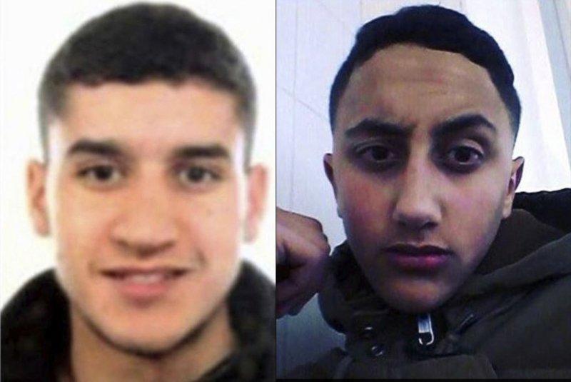西班牙巴塞隆納恐攻,仍在逃的22歲摩洛哥裔嫌犯阿布雅各布(左)與被警方擊斃的17歲摩洛哥裔嫌犯歐卡比爾(AP)