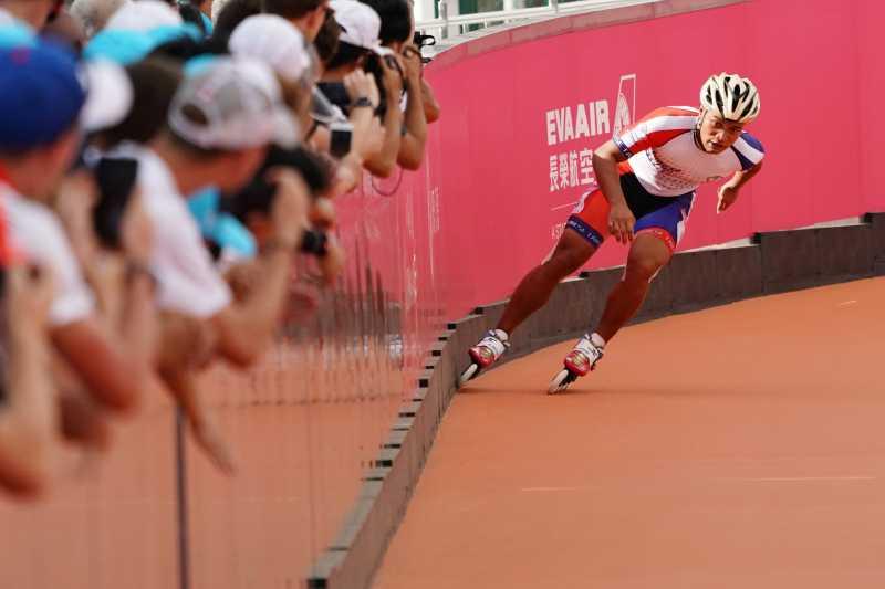 男子滑輪300公尺決賽宋青陽以第六作收(大專體總提供)