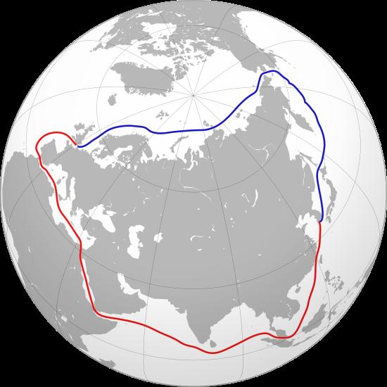 藍色線路為北海航道,紅色線路為傳統經過蘇伊士運河的航道。(Collin Knopp-Schwyn and Turkish Flame @ Wikipedia CC/BY 4.0)