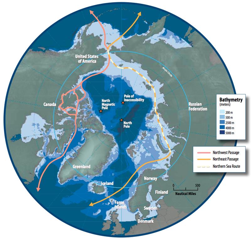 北海航道與西北航道的示意圖,右側黃白相間的路線為北海航道。(Wikipedia/Public Domain)