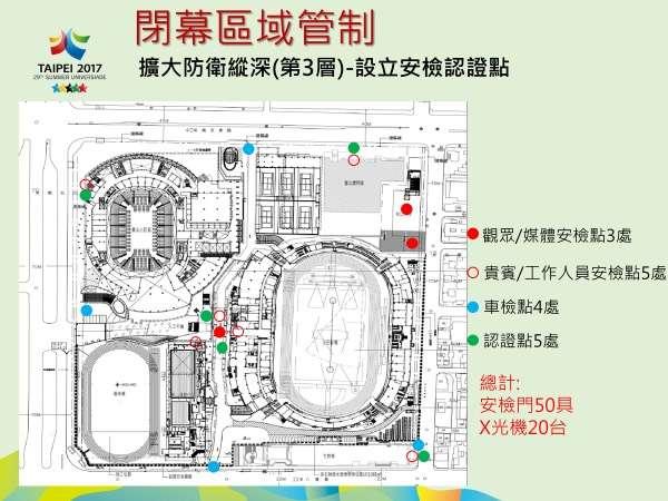 2017-08-28-世大運閉幕式管制區-安檢點分布。(台北市警局提供)