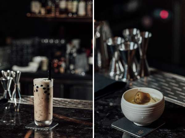 來 KOR Taipei當然要點 HardKOR Boba Tea (左),以台灣珍珠奶茶為主題,加入烏龍茶波本威士忌,結合榛果、蜂蜜和奶香,成為威士忌版的珍珠奶茶。Gao-lapeño (右)也是來 KOR Taipe(圖/明日誌MOT TIMES提供)