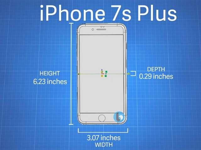 國外網站TechnoBuffalo揭露iPhone7s Plus的外觀圖,尺寸與上代相比略為增加。(取自TechnoBuffalo網站)