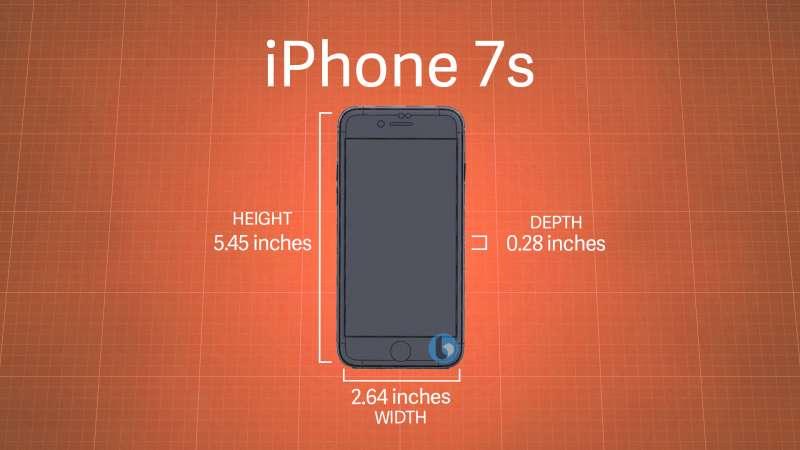 國外網站TechnoBuffalo揭露iPhone7s的外觀圖,尺寸與上代相比略為增加。(取自TechnoBuffalo網站)