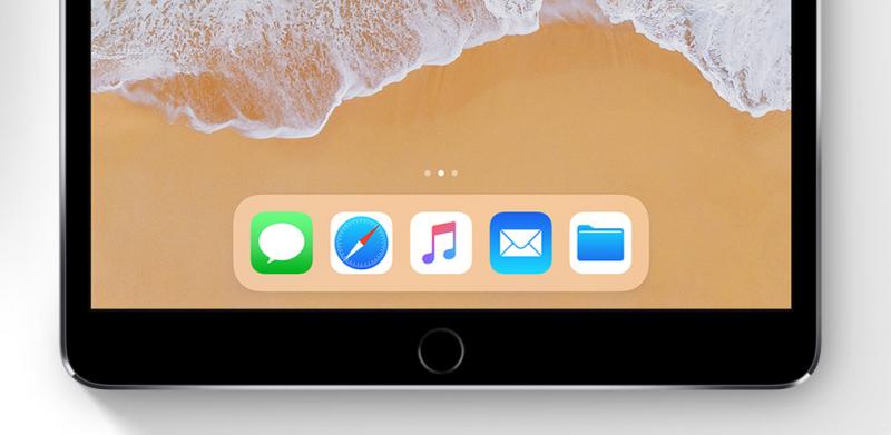 傳iPhone 8螢幕下方的底座「Dock」,介面設計將改成類似iOS 11中的iPad版本,從原本的灰底改為白底。(圖/蘋果,數位時代提供)
