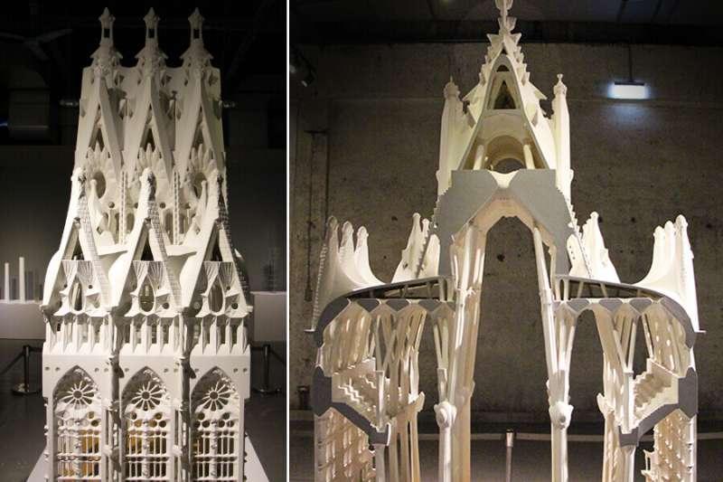 聖家堂中心堂模型展示側面(左)與正面(右)。(圖/丁紹原 攝,瘋設計提供)