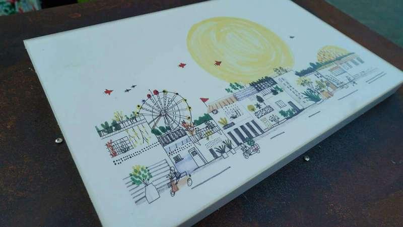 插畫家吳欣芷筆下的士林,描繪日落情景。(圖/城市美學新態度提供)