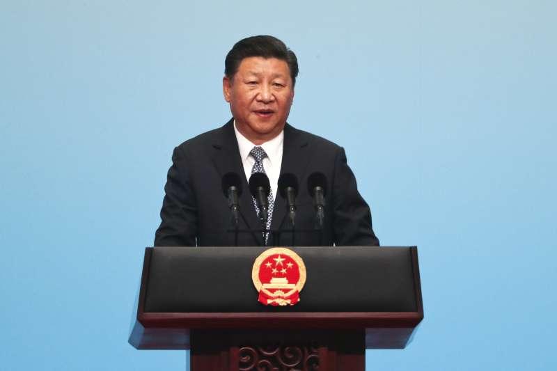 中國國家主席習近平在金磚五國廈門峰會開幕式上演說。(美聯社)