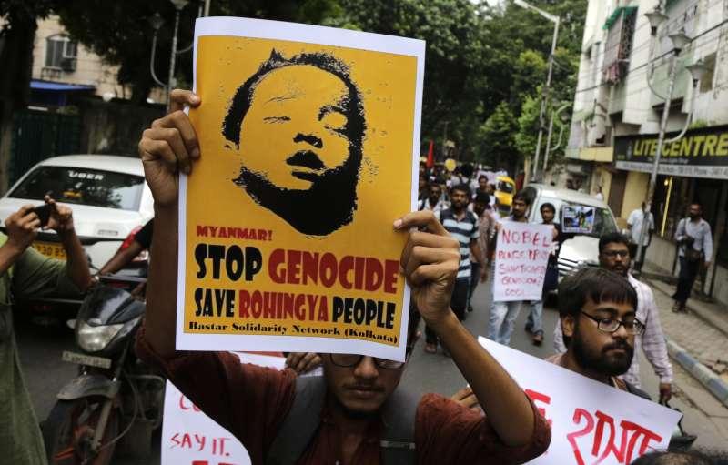 印度非穆斯林人權團體聲援緬甸羅興亞難民。(美聯社)