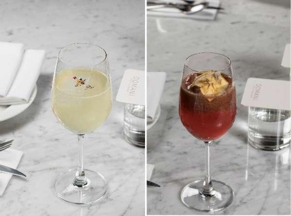 Domani 為義式餐廳,所以酒品以威尼斯調酒 Spritz 為基底,加上台灣花果材料做變化,白花(左)加入台灣野薑花,口感淡雅不甜膩;樹果(右)以台灣龍眼蜜入酒,加上藍莓和蘋果白蘭地,味道香甜,適合女性飲用。(圖/明日誌MOT TIMES提供)