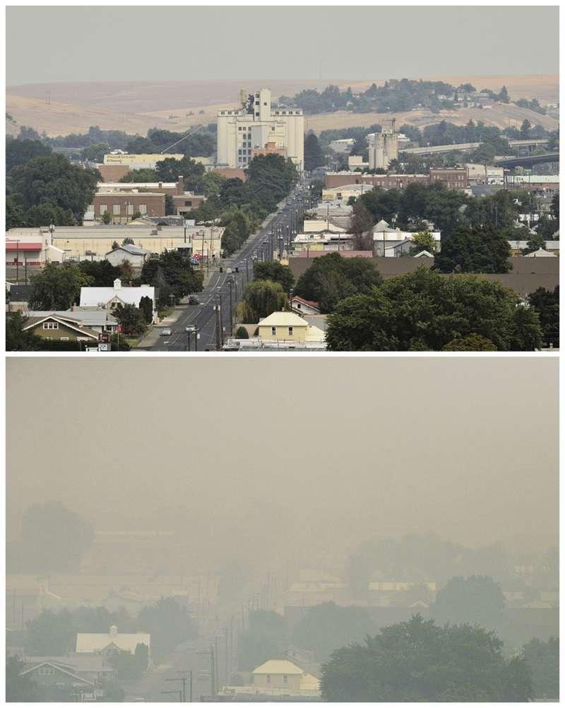 美國西部野火:奧勒岡州城鎮原先面貌(上)與被野火煙霧壟罩的樣子(AP)