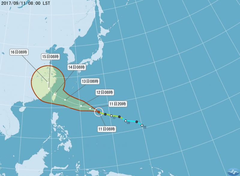中央氣象局預測,不排除泰利颱風將以中颱以上強度直撲台灣,最快將在12日發布海上及陸上警報,暴風圈將在14日籠罩全台。(取自中央氣象局網站)