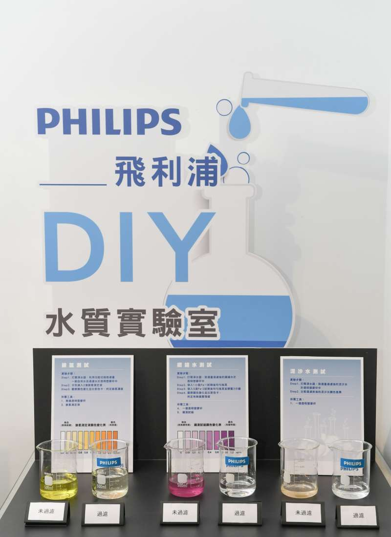 飛利浦水質實驗室現場實驗,證明飛利浦全新淨水器可有效除氯、排除鐵質並過濾泥沙,把好的留下,壞的濾掉。(圖/飛利浦提供)