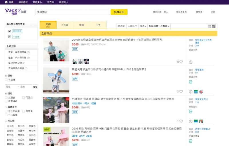 在台灣也買得到「飛碟雨衣」。(取自網路)