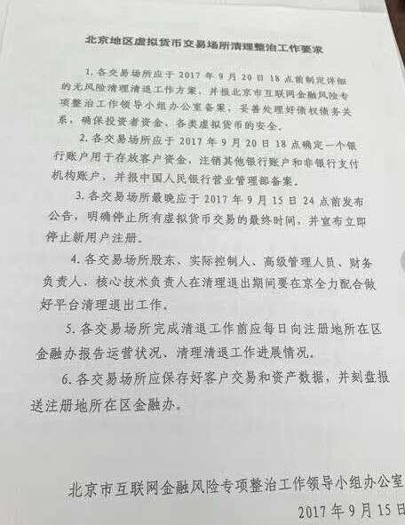 北京市互聯網金融風險專項整治工作領導小組辦公室下達命令,要求所有註冊於北京市的虛擬貨幣交易平台近期內全部關停。(取自中國財經媒體)