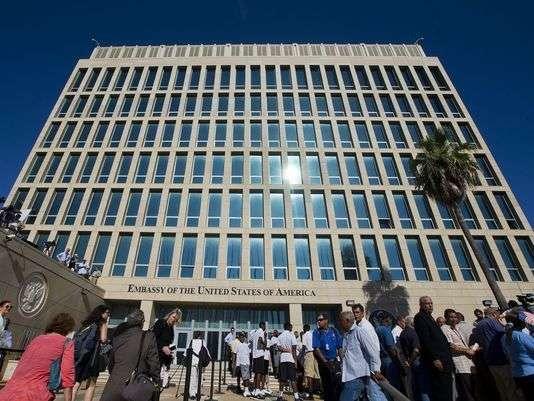 美國駐古巴首都哈瓦那的大使館(AP)
