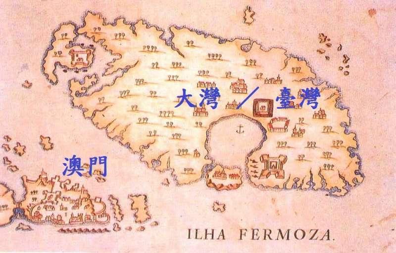 早期中外地圖,都會特別標誌臺灣的大海灣,幾乎成為臺灣早期地圖的Logo。(圖/作者提供|想想論壇提供)