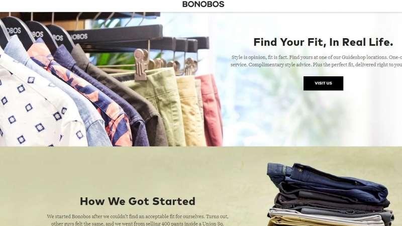 美國流行服飾品牌「Bonobos」。(截圖自Bonobos官網)