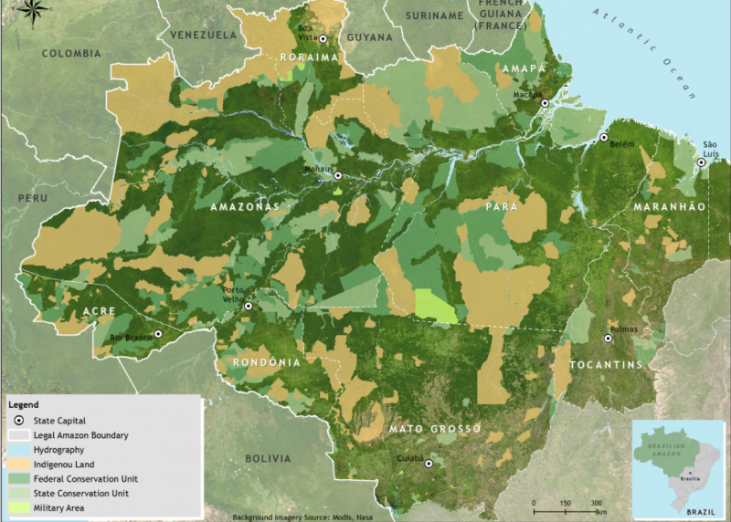 巴西亞馬遜雨林約有1/10為原住民居住地(黃色區域)(圖/FUNAI)