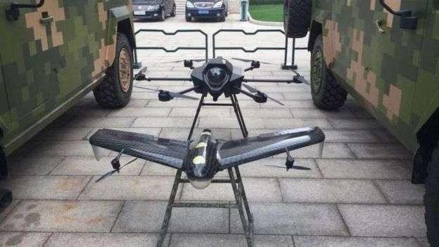 北京軍博展上上出現的「自殺無人機」。(BBC中文網)
