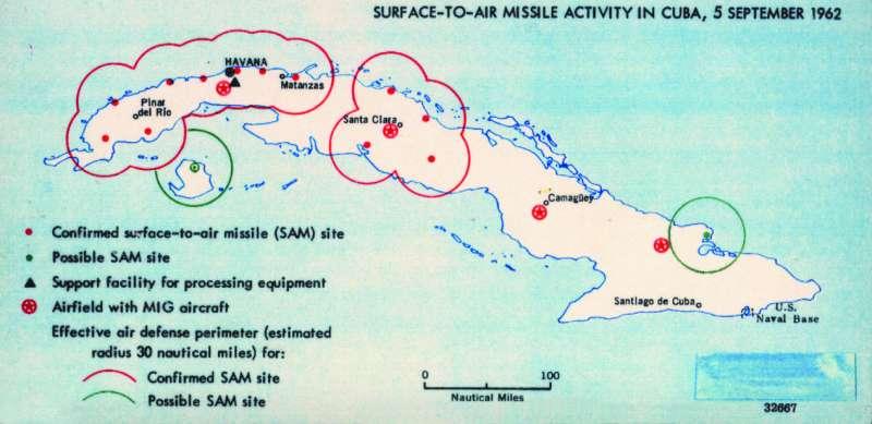 美國情報單位繪製的蘇聯在古巴部屬飛彈地圖。(CIA@wikipedia/public domain)
