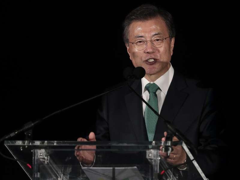 南韓總統文在寅在美國紐約宣傳2018平昌冬奧,再提出南北韓共組隊伍的想法(AP)