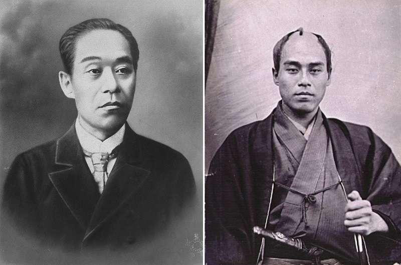 《近世名士寫真》里的福澤諭吉像(左);福澤諭吉在巴黎(1862年/維基百科)