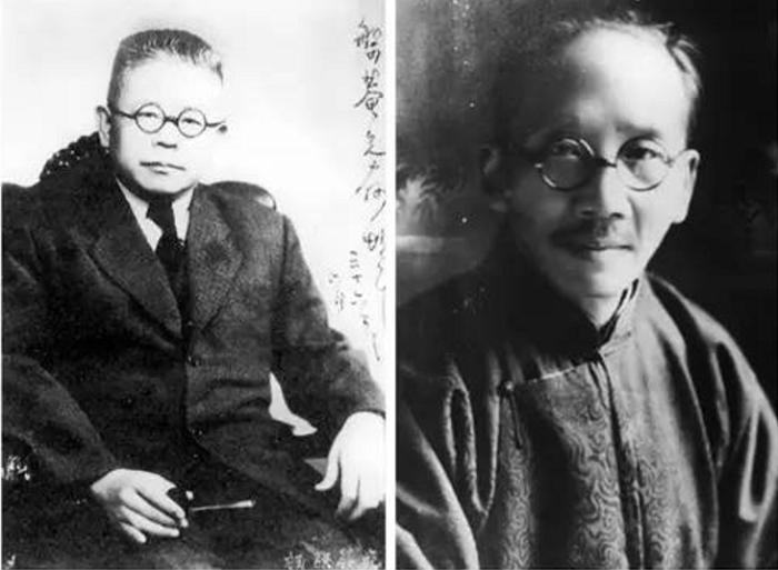 傅斯年(左)與蔡元培(右)。