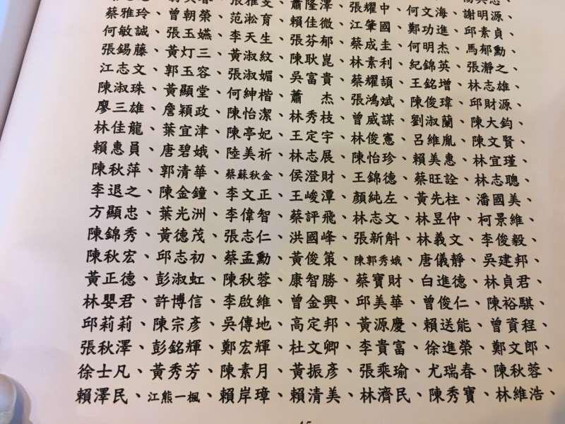 挺扁聯盟向民進黨全代會提案要求特赦陳水扁連署名單