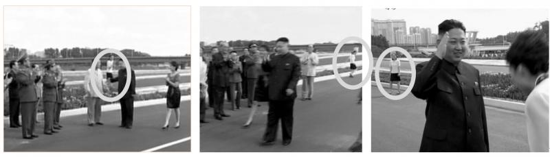 雖然北韓當局為了不要讓金與正的畫面曝光因此剪輯了影片,但是金與正當天在混亂場面中到處移動,因此沒有辦法將她出現的畫面全部剪掉。(八旗文化出版社提供)