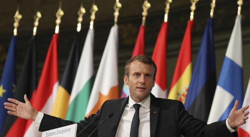法國總統馬克宏26日在巴黎大學發表演講,提出一系列改造歐盟的主張(AP)