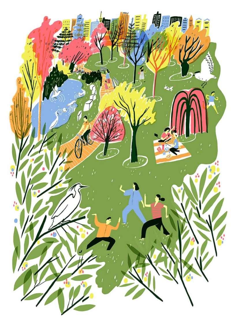 Hannah Warren以台北風景為靈感創作《城市之肺:大安森林公園》,也在日本單車品牌tokyobike倫敦分店展出。(圖/tokyobike,城市美學新態度提供)