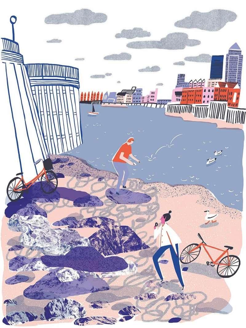 在Hannah Warren畫筆下的沃平海灘。(圖/城市美學新態度提供)