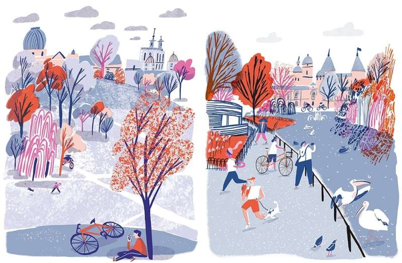 英國插畫家Hannah Warren描繪人們騎單車漫遊格林尼治皇家天文台(左)與聖詹姆士公園(右)。(圖/城市美學新態度提供)