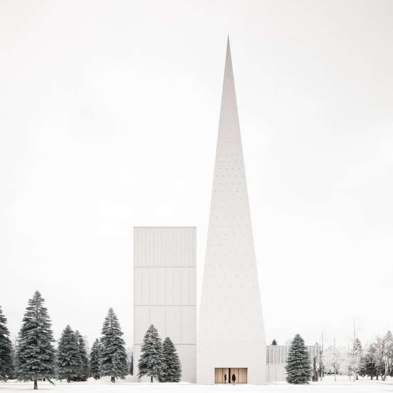 即將座落於芬蘭雪地,造型純粹潔白的尖塔教堂。(圖/取自Designboom)