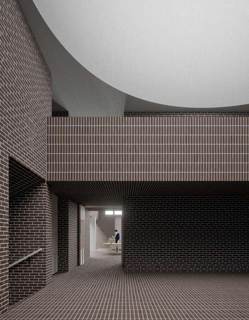 酒紅色磁磚裝飾,半球形穹頂的門廳。(圖/取自Designboom)
