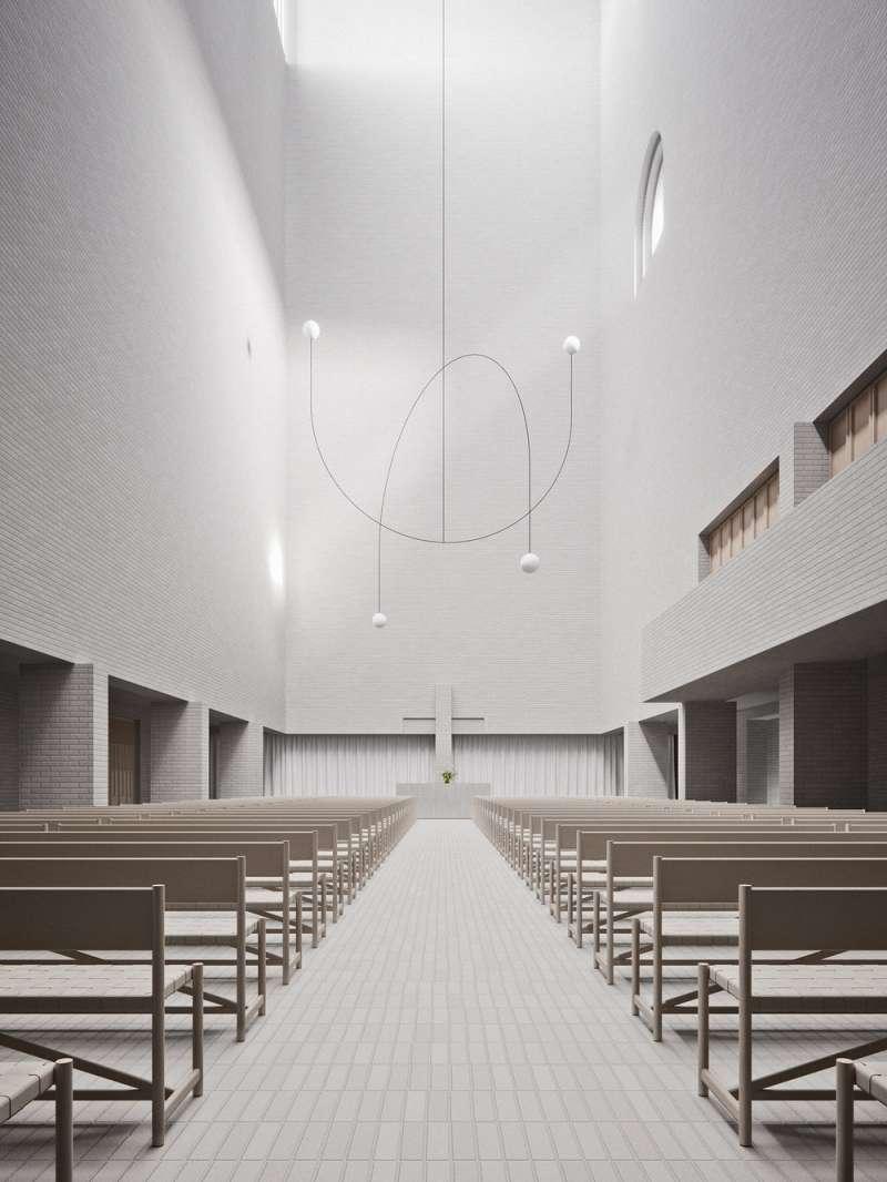 靜謐純粹的廊柱大廳。(圖/取自Designboom)