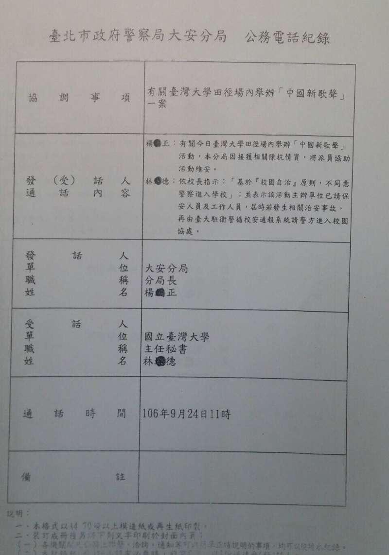 台北市議員簡書培調閱資料發現,當天負責的台北市警局大安分局羅斯福派出所,自11時後,就再也沒有和台大電話聯繫的紀錄。(王彥喬翻攝)