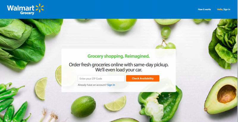 Walmart提供檢貨與車取的服務。(取自Walmart官網)