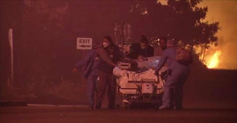 加州聖羅莎凱撒醫院的醫護人員緊急疏散病人(AP)