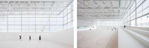 以鋼樑和桁架支撐體育館偌大的屋頂,整個結構一樣以白色表現,帶來輕盈的感受。(圖/Alberto Campo Baeza,明日誌提供)