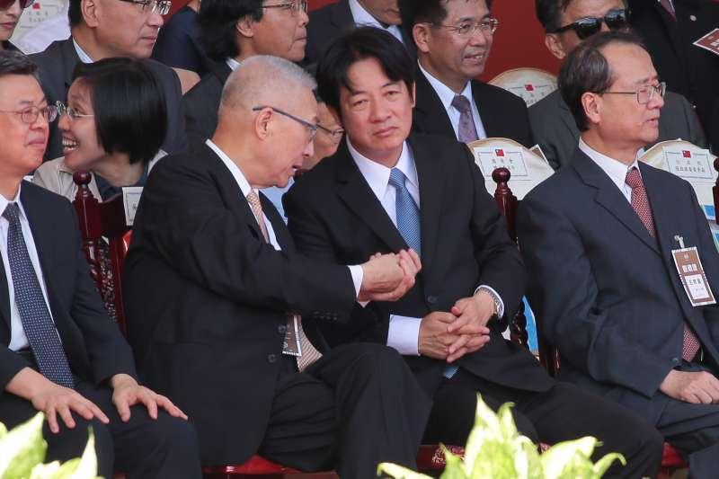 20171010-前副總統吳敦義、行政院長賴清德10日出席中華民國106年國慶典禮,並於過程中不斷交談。(顏麟宇攝)