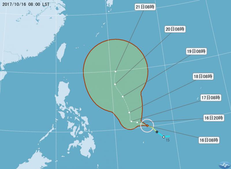 20171016-中央氣象局表示,輕颱蘭恩已形成,目前距台灣2000公里。(取自中央氣象局)