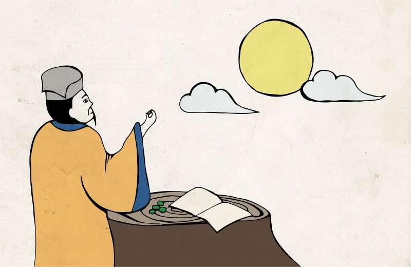 蘇軾被貶官到海南島的時候,有沒有可能在邊賞月的時候,邊吃著檳榔呢?(圖/繪圖示意│黃楷元、張語辰)